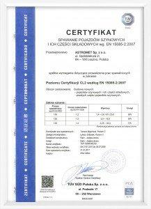 Certyfikat Astromet 15085-2